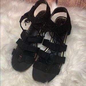 Nicole lace up black block heels shoes